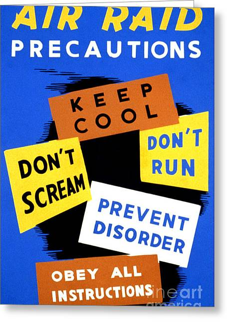 Wwii Air Raid Precautions Fap Poster Greeting Card by Science Source