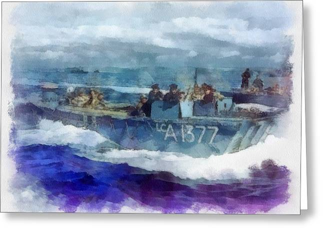 Wwii British Navy Landing Craft Greeting Card by Esoterica Art Agency