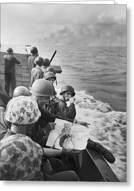 Wwii Marines In South Pacific Greeting Card by Underwood Archives