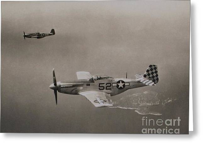 Wwii P-51d Mustang Fighters Shimmy Iv Greeting Card by Lou Varro