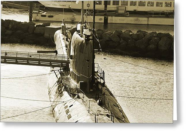 Wwii Submarine At Queen Mary Greeting Card