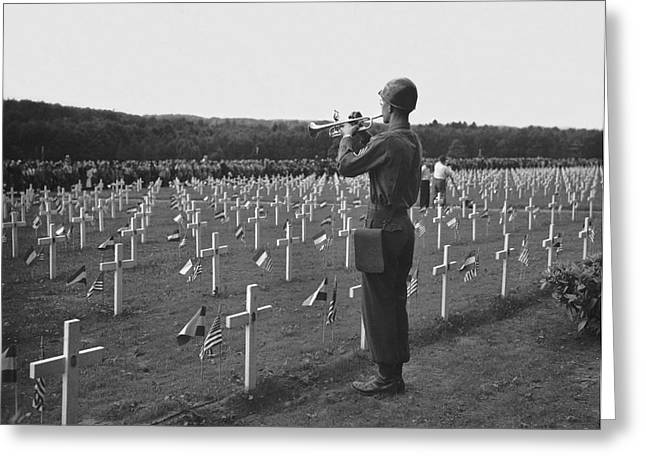 Wwii Taps Memorial Service Greeting Card by Underwood Archives