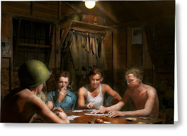 Wwii - The Card Game 1943 Greeting Card by Mike Savad