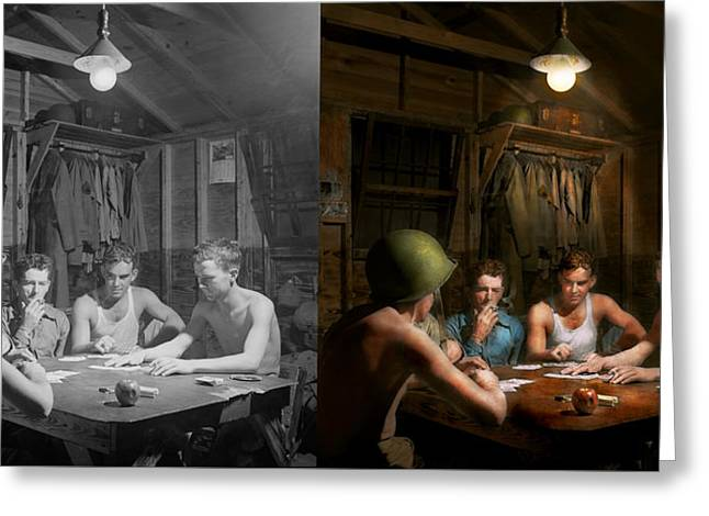 Wwii - The Card Game 1943 - Side By Side Greeting Card by Mike Savad