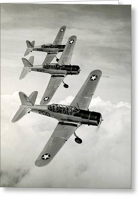 Wwii Vultee Valiant Aircraft In Flight Greeting Card