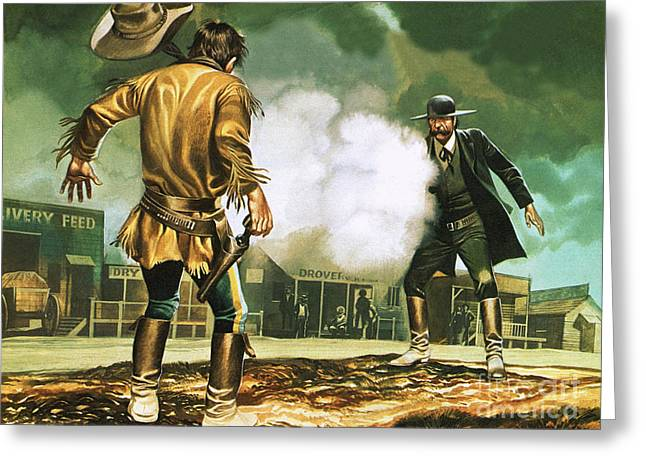 Wyatt Earp At Work In Dodge City Greeting Card by Ron Embleton