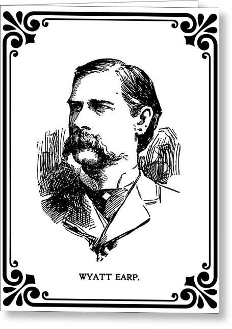 Greeting Card featuring the mixed media Wyatt Earp Newspaper Portrait  1896 by Daniel Hagerman
