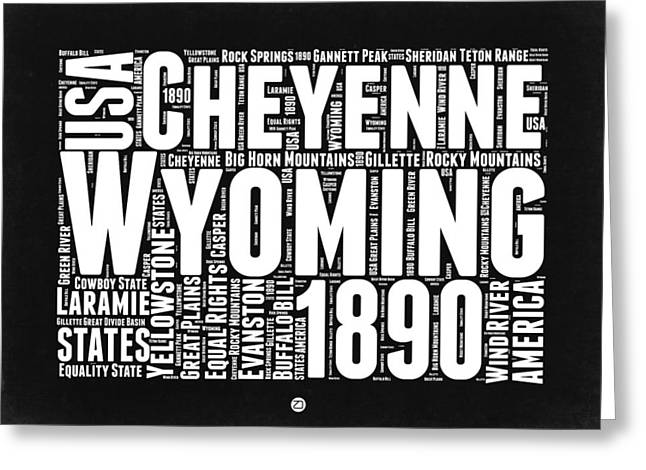 Wyoming Black And White Word Cloud Map Greeting Card