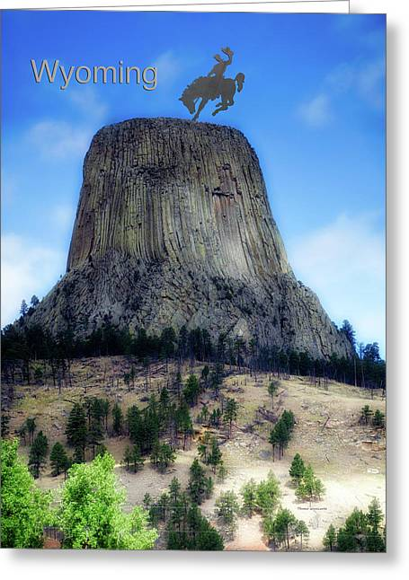 Wyoming Devils Tower With Cowboy And Climbers Greeting Card by Thomas Woolworth