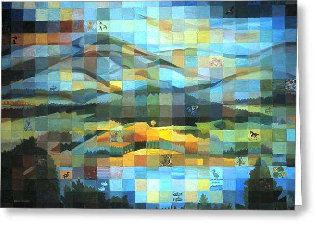 Greeting Card featuring the painting Wyoming Quilt by Dawn Senior-Trask