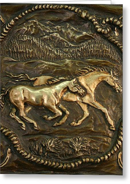 Greeting Card featuring the sculpture Wyoming Ranch Horses by Dawn Senior-Trask