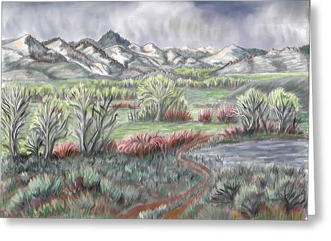 Willow Lake Drawings Greeting Cards - Wyoming Spring Greeting Card by Dawn Senior-Trask