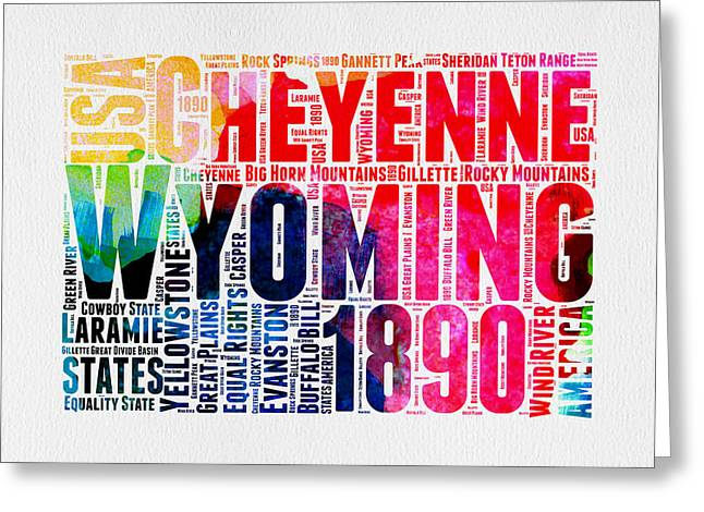 Wyoming Watercolor Word Cloud Map Greeting Card by Naxart Studio