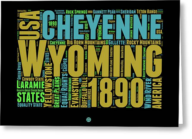 Wyoming Word Cloud Map 1 Greeting Card by Naxart Studio
