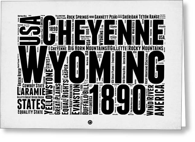 Wyoming Word Cloud Map 2 Greeting Card by Naxart Studio
