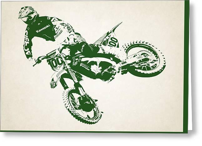 X Games Motocross 4 Greeting Card by Stephanie Hamilton