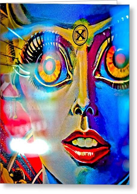 X Is For Xenon - Pinball Greeting Card by Colleen Kammerer