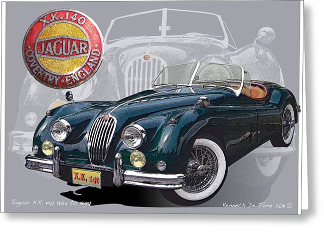 Jaguars Mixed Media Greeting Cards - X K 140 Jaguar Greeting Card by Kenneth De Tore