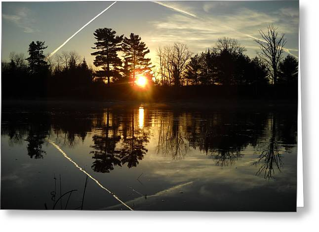 X Marks The Spot Sunrise Reflection Greeting Card