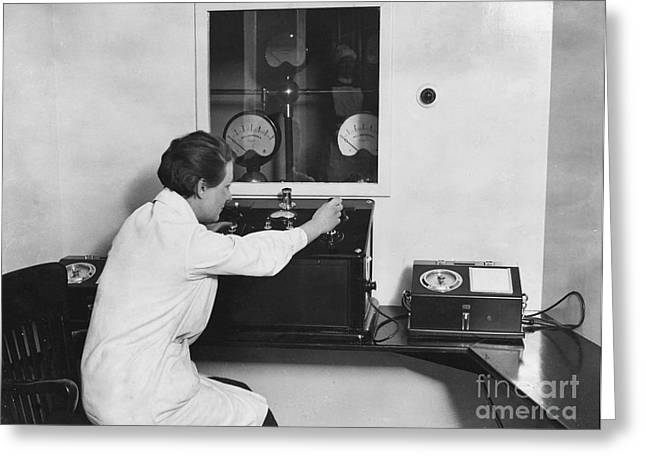 X-ray Room Control Panel, Marie Curie Greeting Card by Wellcome Images