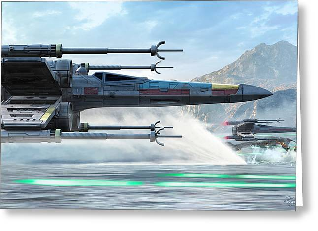X-wing Full Throttle  Greeting Card