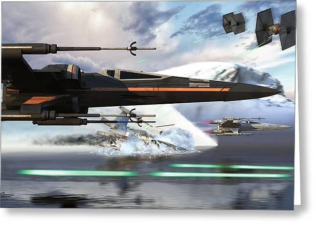X-wing Full Throttle V2 Greeting Card