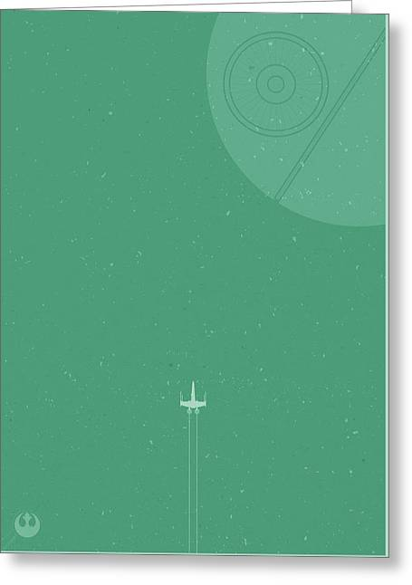 X-wing Meets Death Star Greeting Card by Samuel Whitton
