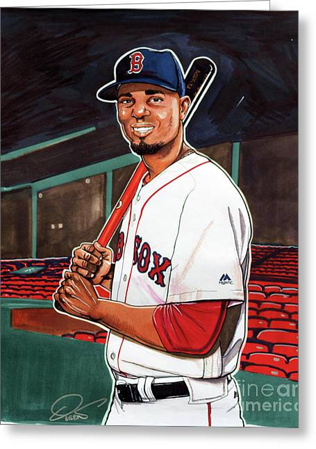 Xander Bogaerts Greeting Card by Dave Olsen