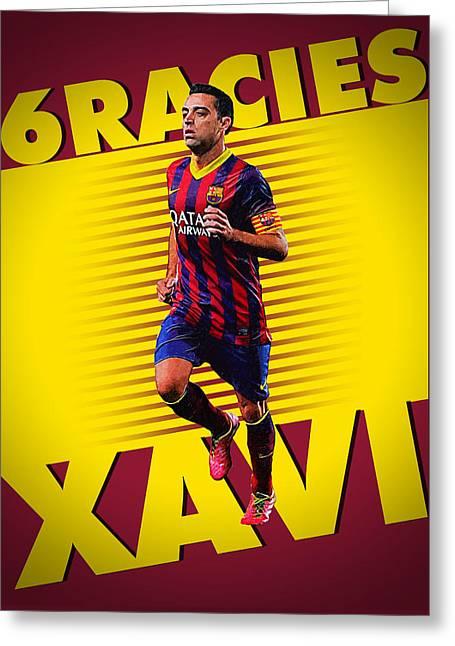 Xavi Hernandez Greeting Card by Semih Yurdabak
