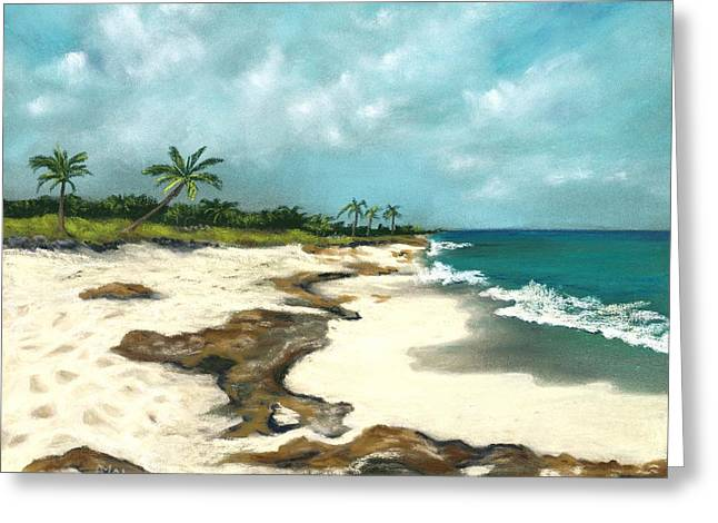 Greeting Card featuring the painting Xcaret - Mexico - Beach by Anastasiya Malakhova