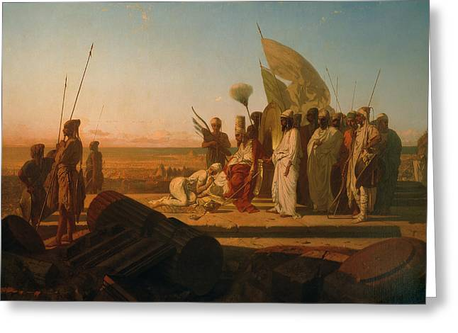 Recently Sold -  - Surveying Greeting Cards - Xerxes at the Hellespont Greeting Card by Jean Adrien Guignet