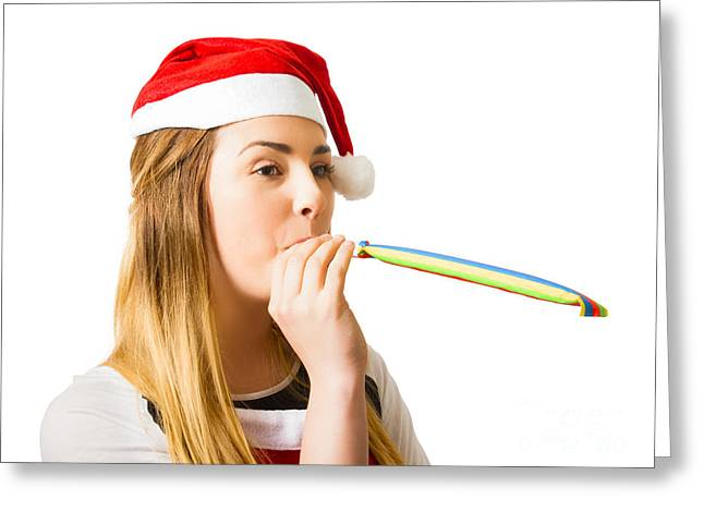 Xmas Girl Celebrating New Year Happiness Greeting Card