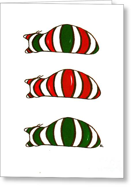 Greeting Card featuring the drawing Xmas Stacking Cats by Rachel Lowry