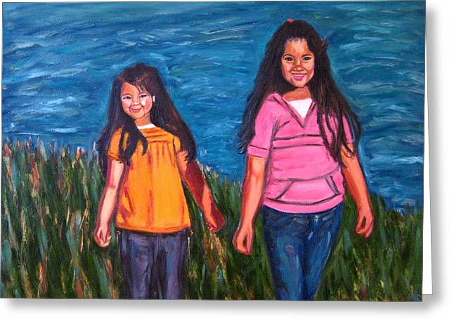 Xochitl And Citlalli Greeting Card by Albert Almondia