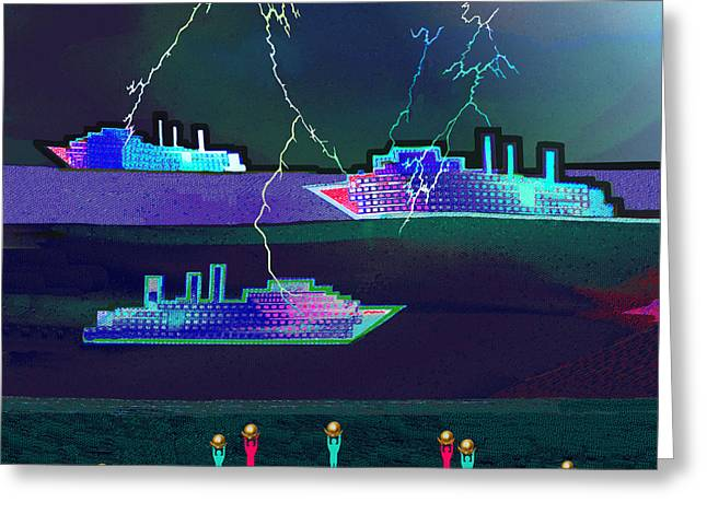 2412 - Ships In   Thunderstorm 2017 Greeting Card