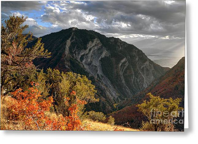 Y Mountain Above Provo Utah At Sunset Greeting Card by Gary Whitton