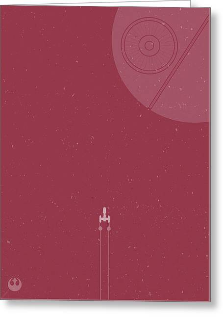 Y-wing Bomber Meets Death Star Greeting Card by Samuel Whitton