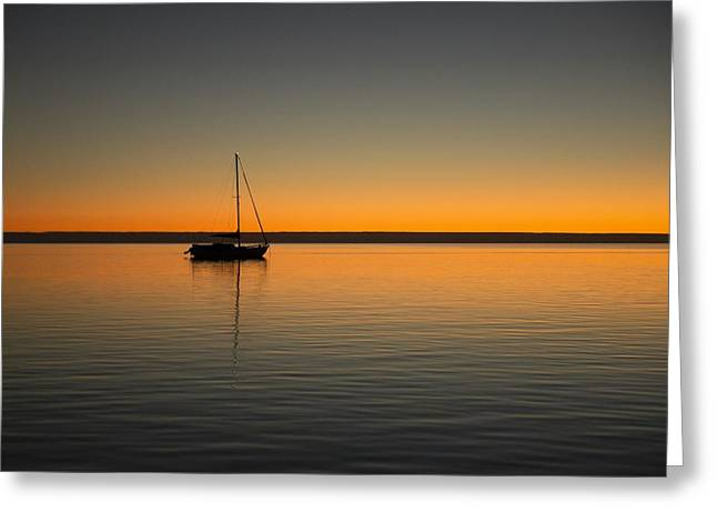 Yacht At Sunset Greeting Card by Gary Wright