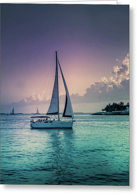 Yacht At The Atlantic Ocean Greeting Card by Art Spectrum