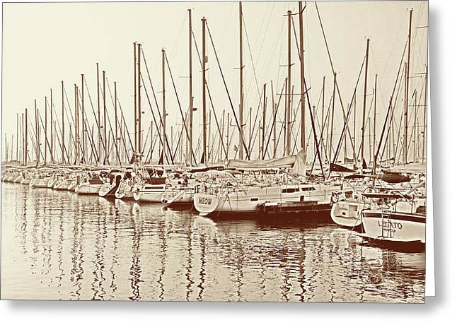 Yacht Club In Sepia Greeting Card