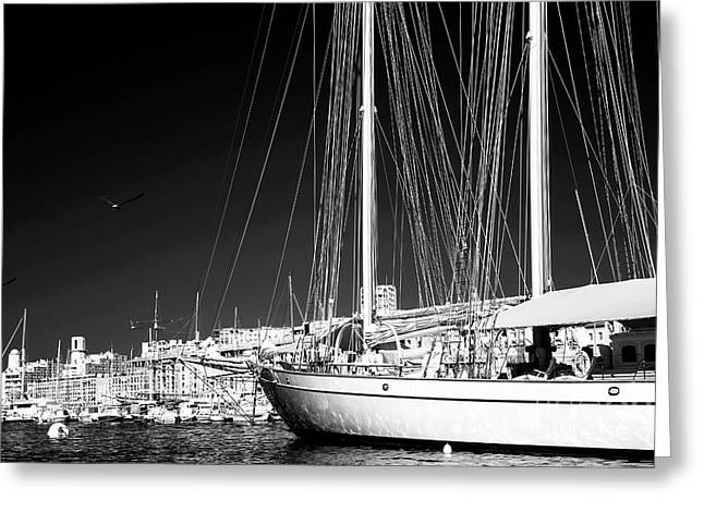 Yacht Docked In Marseille Greeting Card