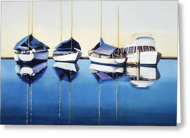 Yacht Harbor Greeting Card by Han Choi - Printscapes