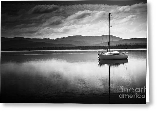 Yacht Sailing Boat With Sails Down In Port Sorell  Greeting Card