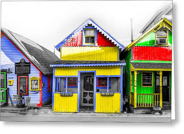 Yacht Street Cape May In Technicolor Greeting Card