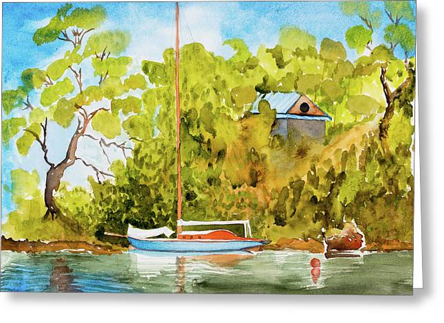Yacht Weene' In Barnes Bay  Greeting Card