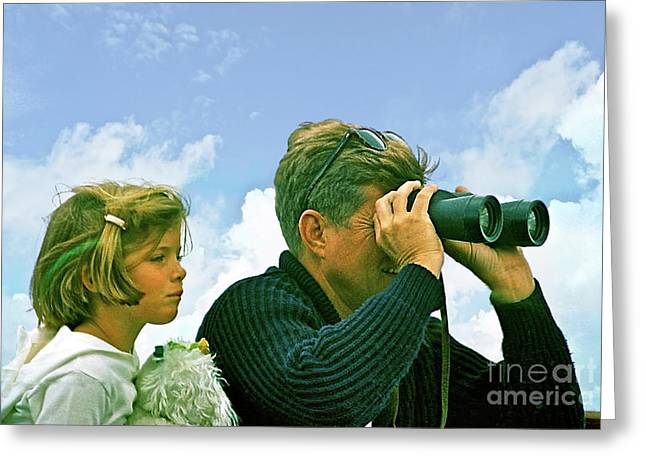 Yachting With John F. Kennedy And Caroline, Cape Cod, Ma Greeting Card