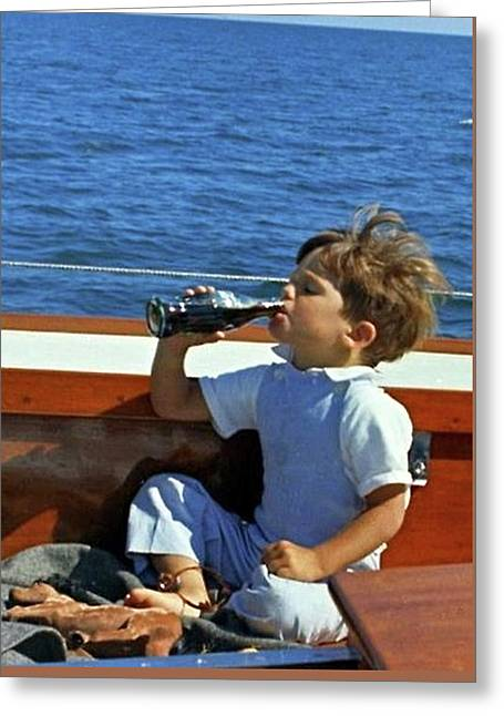 Yachting With John F. Kennedy Jr., Coca Cola, Cape Cod, Ma Greeting Card