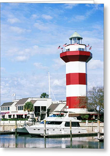 Yachts At A Harbor With Lighthouse Greeting Card