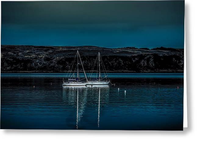 Yachts At Anchor In Moonlight Greeting Card