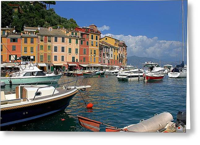 Portofino Italy Greeting Cards - Yachts in the Italian Mediterranean coast known as Cinque Terre Greeting Card by Giancarlo Liguori